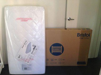 Bristol white cot and mattress