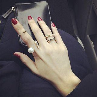 [SET OF 3] Pearl & Crystal Midi Rings from Korea