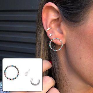 [SET OF 3] Zircon Stud Earrings & Ear Cuff Set from Korea