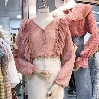 korean ruffle blouse (pink)
