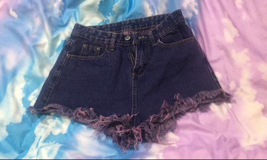 古著稀有 紫色抽鬚牛仔褲