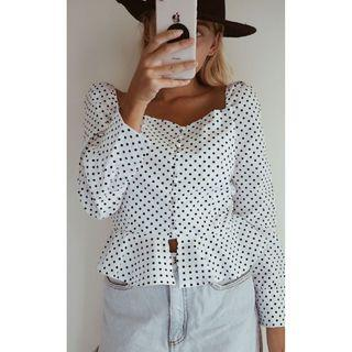AFTERPAY AVAILABLE - POLKA TOP - SIZES XS - L