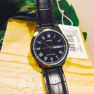 [✅FREE postage]: ✅💯Authentic Casio Men Quartz Black Leather Watch MTPV006L-1B