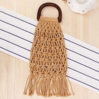 Beach bag tassel available in brown and white