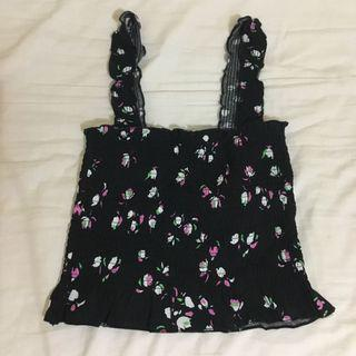 Free Mailing - Black Floral Shirred Square Neck Top