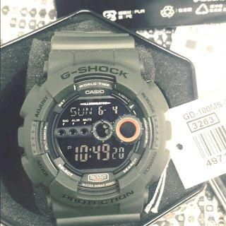 [🎉✅FREE postage]: ✅💯Authentic Casio G-Shock GD-100MS-3DR OLIVE Green MILITARY  - Red Back Light