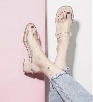 Candy w❤️2色實拍❤️ 百搭時尚方頭粗跟涼拖鞋2色