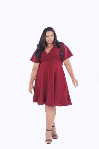 Thecurvecult Maroon Wrap Dress (short ver)