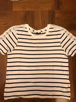 Topshop striped t shirt with detailing