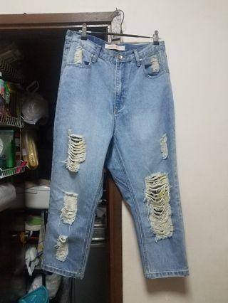 韓國高腰 破洞牛仔褲 boyfriend Jean