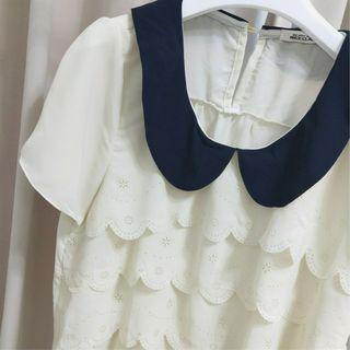 🚚 日系精緻蕾絲雕花復古小圓領雪紡紗上衣
