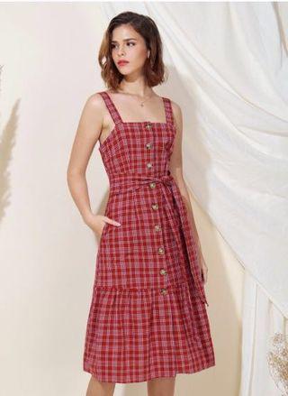🚚 AWD Infinity Button Down Checks Dress (Cherry)