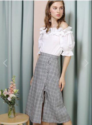 🚚 AWD Entwine Lace Up Linen Skirt (Checks)