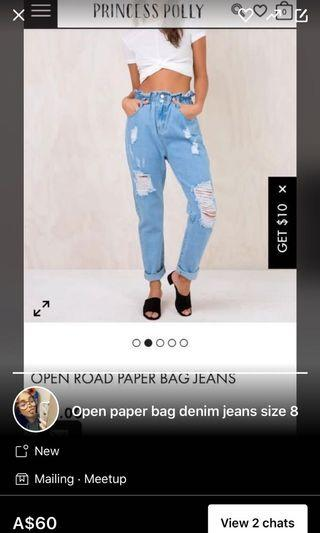 Paper bag denim pants jeans high waist size 8/S