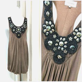 歐美時尚寶石裝飾美背洋裝
