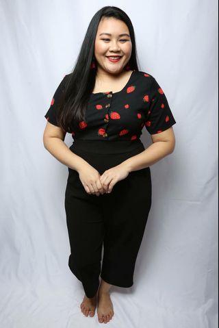 LovePrettyPlus Black Half Berry Long Jumpsuit