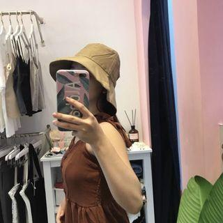 近全新-卡其色韓系漁夫帽遮臉帽 遮陽帽