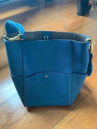 🚚 Celine Sangle Bucket Bag in Soft Grained Blue Calfskin