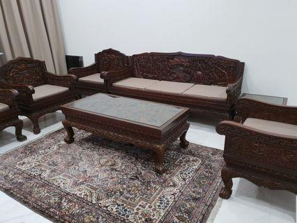 Vintage / Antique Teak Wood Sofa Set