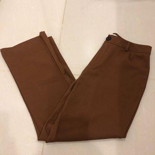 🚚 棕色西裝直筒褲