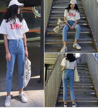 skinny denim mom jeans (ulzzang)