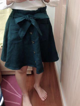 寶藍綠鬆緊針織裙/ M號 #半價衣服拍賣會