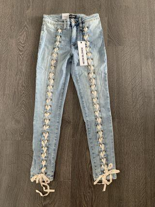 NEW WITH TAGS Neon Blonde Blondie Tie Up Jeans Size 26