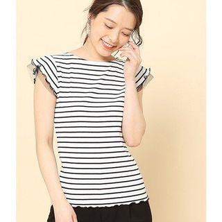 2色🌸日系🌸喱士紗袖tee恤 Japan lace trimmed mesh trimmed cotton tee shirt top 2 colours