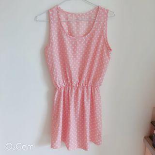🚚 粉色圓點無袖洋裝#半價衣服拍賣會