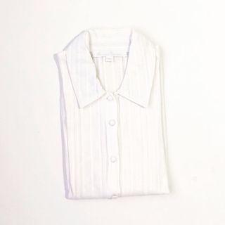 Kamiseta White Sheer 3/4 Sleeves Buttondown • Size M
