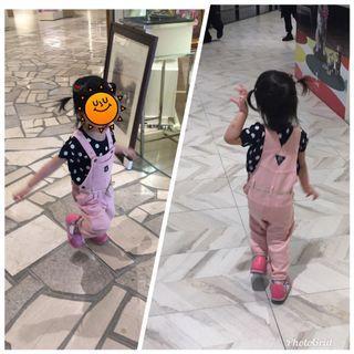 🚚 二手衣baby B'gosh粉色純棉吊帶長褲