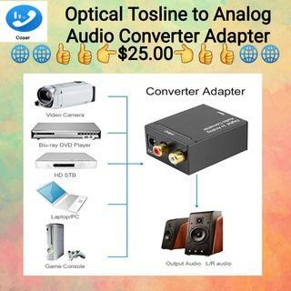 Digital Optical Toslink Coax to Analog R/L/RCA Audio Signal Converter Adapter
