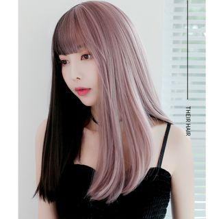 Black & Purplish Pink Full Head Wig