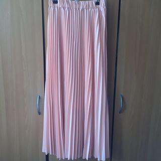全新。粉紅色鬆緊褲頭百褶雪紡長裙 #半價衣服拍賣會