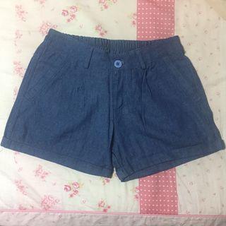 牛仔單寧原色鬆緊褲頭牛仔反摺短褲 #半價衣服拍賣會