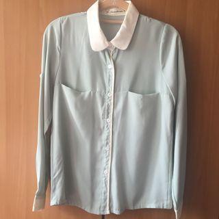 韓妞撞色襯衫款💙粉綠X白 雙口袋雪紡長袖襯衫 OL襯衫 辦公室 通勤 社會新鮮人 #半價衣服拍賣會