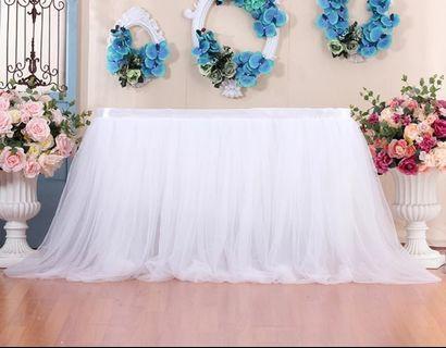 🚚 Tulle Table Skirting White for Dessert Table for sale