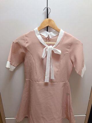 韓國IceCream粉色蝴蝶結連身裙收腰氣質款
