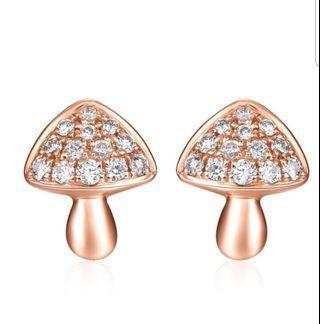 玫瑰金天然鑽石磨菇型耳環