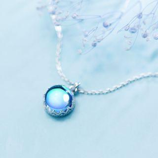 Blue cats eye stone necklace - Korean - Minimalist - S925 - Sterling Silver