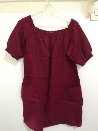 Red dress with front pockets