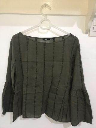 Olive green boho Uniqlo top