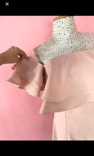 Blush layered ruffle off shoulder dress