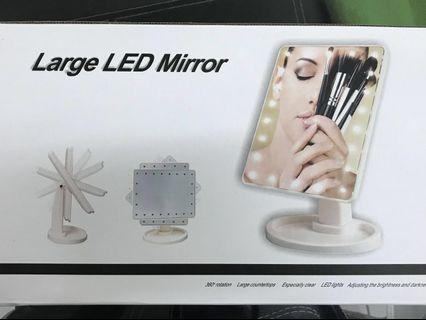 Large make up mirror with LED light