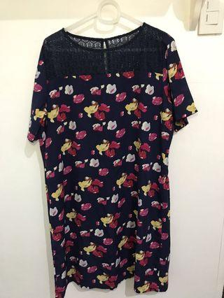 Plus size navy blue floral dress