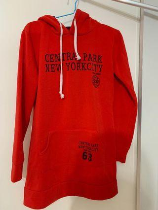 Red outside dark blue inside hoodie