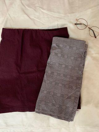 plaid // red skirt