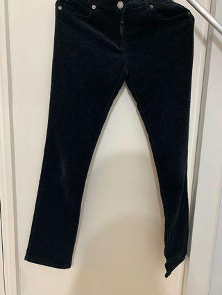 Black little fur long jeans
