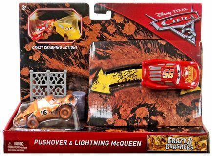 AUTHENTIC MATTEL DISNEY CARS Crazy Crashing Action Lightning Mcqueen Pushover Disney Cars 3 Crazy 8 Crashers