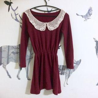 🚚 酒紅蕾絲圓領傘洋裝#半價衣服拍賣會